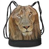 XCNGG Mochila con cordón, Bolso Africano de la Mochila del Paquete del Gimnasio del Viaje del Deporte de la impresión de la Cabeza del león