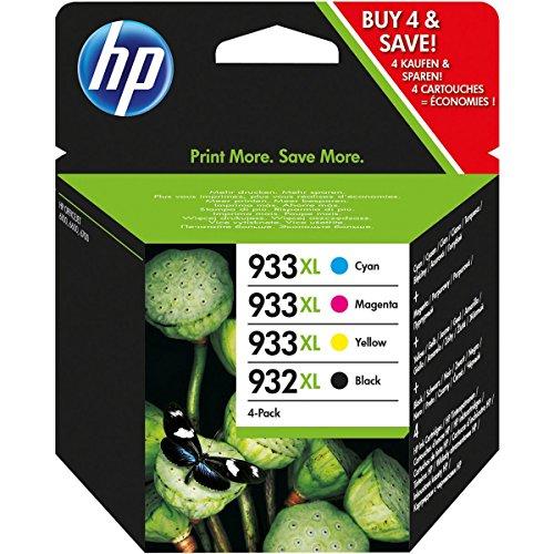 HP 932-933 XL, C2P42AE Cartucce Originali, Nero/Ciano/Magenta/Giallo, Confezione da 4 pezzi...