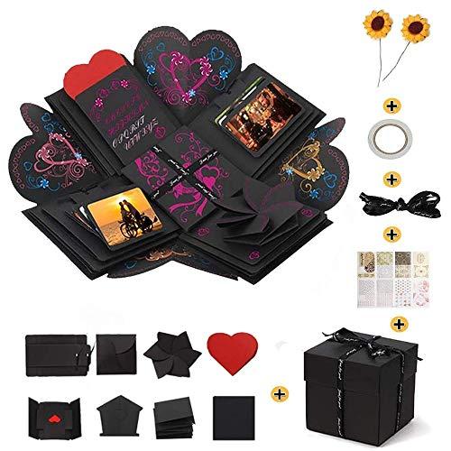 SANDY ANANKE Creative Explosion Gift Box, DIY Handmade Photo Album Scrapbooking for Birthday Party, Wedding, Valentine's Day, Mother's Day, Black