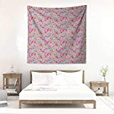 Willsd Baby Square Tapestry Hippie Kawaii Bunnies Ice Cream and Candies Doodle Style Cartoon Drawing Abstract Literary Small Fresh 39W x 39L INCH Pink Turquoise Mustard