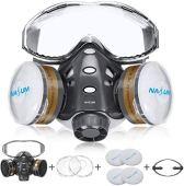 Faccia Copertina NASUM, con Vetri Fissi / 2x Coperchio in Plastica / 2x Filtro in Cotone, Riutilizzabile per Polvere/Particelle/Vapore/Gas per Spray/Pittura