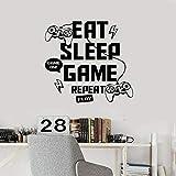 Juego Eat Sleep Replay Joystick vinilo pared pegatina Internet café familia inspiradora pared pegatina salón pared pegatina
