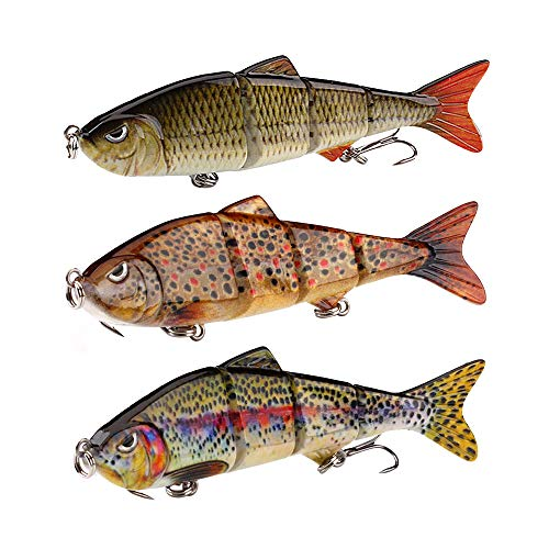 HNYY 3Pcs Fishing Lure Artificial Pike Lure Bait Multi Jointed Bait Lifelike Sinking Wobblers Fishing Tackle
