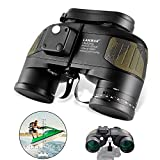 LAKWAR Power Binoculars 10x50 for Long Distance Compact Binoculars for Adults with Rangefinder Compass High Grade Binoculars BAK4 Prism Waterproof Fogproof for Birdwatching, Hunting