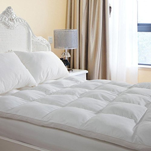 D & G THE DUCK AND GOOSE CO Overfilled Extra Thick Mattress Topper Queen Size, Gel Fiber Filled Bed Topper Mattress Pad Pillowtop