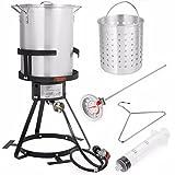 Stark Deluxe 30 QT Aluminum Turkey Deep Fryer Pot Boiling Lid Seafood Cajun Gas Stove Burner Stand Injector Thermometer CSA 55,000 BTU