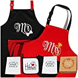 THYGIFTREE Wedding Gift for Couples, Honeymoon Kitchen Gifts for Couples Unique, Mr and Mrs Aprons for Wedding Surprise from Parents