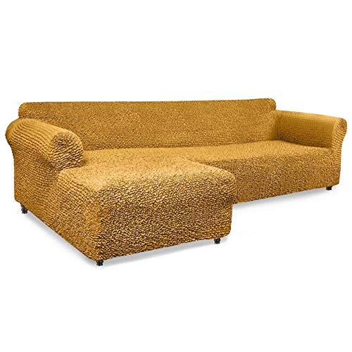 PAULATO BY GA.I.CO. Sectional Couch Cover - L Shaped Sofa Cover - Soft Polyester Fabric Seat Slipcovers - 1-Piece Form Fit Stretch Furniture Slipcover - Microfibra Collection - Mango (Left Chase)