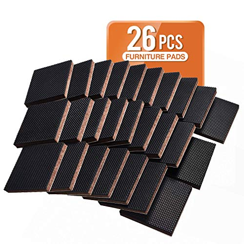 Non Slip Furniture Pads 26 pcs 2' Square Anti Slip Rubber Pads Self Adhesive Furniture Grippers, Non Skid Furniture Pads for Furniture Legs, Floor Protector Furniture Stopper for Hard Floors