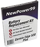 NewPower99 Battery Replacement Kit for Garmin Edge 520 Plus with Installation Video, Tools, and Extended Life Battery