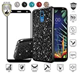 MyFavCell Case for LG K40/Harmony 3/Xpression Plus 2 (2019) LM-X420/Solo LTE L423DL, with [HD Tempered Glass Protector], Girly Bling Glitter Metallic Chrome Design Case (Black)