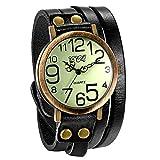 JewelryWe Luxury Vintage Pulsera de Cuero Reloj Hombres Mujeres Reloj de Pulsera Ladies Dress Cuarzo...