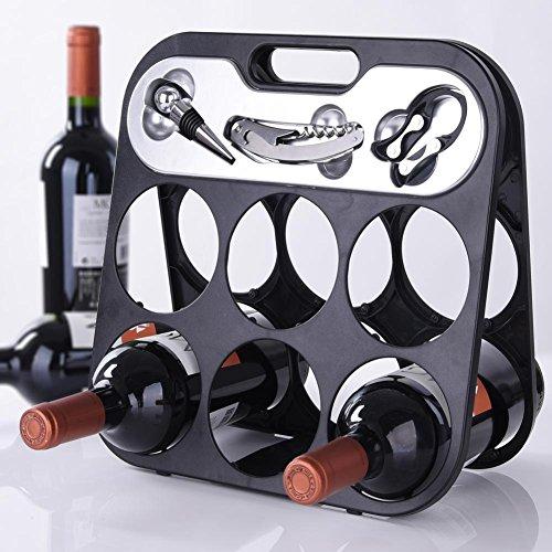 BAKAJI Portabottiglie Cantinetta Porta Vino per 6 Bottiglie con Accessori Somelier Luxury, Porta Bottiglie Pieghevole Salvaspazio con Manico