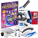 AmScope Deluxe Student Microscope Set - 40X-1000X Dual Light, Glass Lens, Metal Frame Compound Microscope + Slides + Specimen Preparation Kit + Book