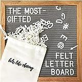 Gray Felt Letter Board, 10x10 inches Changeable Letter Board + 300 White Plastic Letters, Warm Oak Frame Wooden Letter Board w/Sawtooth Wall Hanger & Drawstring Pouch For Letterboard Letters