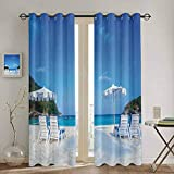 SONGDAYONE Extra Long Curtain Seaside Decor Collection Privacy Protection Seaside Hills Sandy Beach with Chairs Umbrellas Facing Sea Photography W55 x L39 Inch Blue Ivory Green Aqua