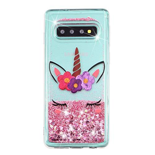 CUAgain Funda Compatible con Samsung Galaxy S10 Plus/S10+ Silicona Goma Transparente Glitter 3D Dibujos Cover Galaxy S10+ Carcasa Cristal Liquida Agua Case Antigolpes Bumper Niña Chica,Unicornio Rosa