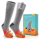 Jomst Upgraded Heated Socks,Rechargeable Battery Heating Socks,Winter Warm Cotton Socks,Best Winter Gift for Women Men,USA 6-14 Size(Gray)