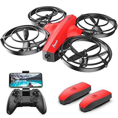 Potensic P7 Mini Drone pour Enfant, Caméra 720P, 20 Minutes de Vol, Mode Combat, 2 Batteries, Convient à l'intérieur-Rouge