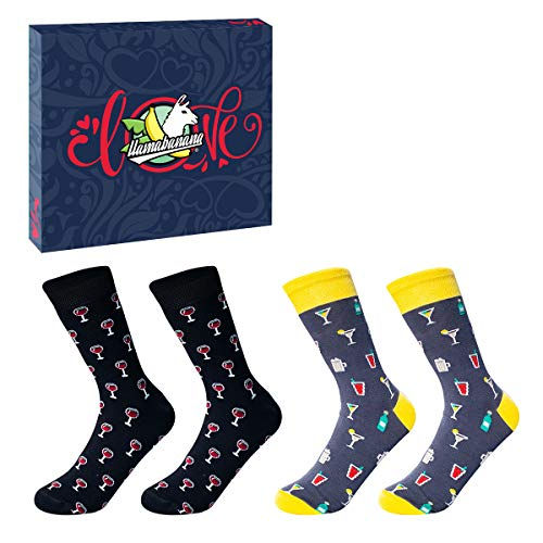 Llamabana, 2 paia di calze da donna in cotone colorato di alta qualit, con confezione regalo...