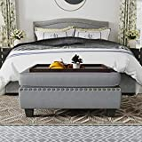 HONBAY Upholstered Storage Bench Ottoman with Tray Coffee Table Ottoman with Storage Rectangle Ottoman Bench with Lift-Off Lid,Grey