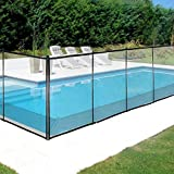Happybuy Inground, Black Mesh Barrier-Removable DIY Pool Fencing, with Section Kit (4' x 12')