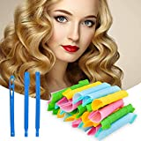 WHISKET - 7 pcs Hair Curlers Spiral Curls Styling Kit, DIY No Heat Wave Shape Hair Curlers for Long Hair, Magic Hair Rollers with Styling Hooks for Most Kinds of Hairstyles (30cm) (Hair Curler)