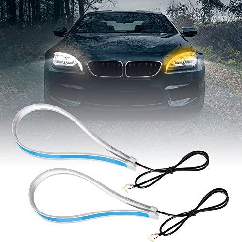 Qiilu Auto Luci diurne, ultra sottile da 60 cm Luce di marcia diurna a striscia di luce ultra sottile a LED per auto