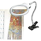 5D Diamond Painting Magnifying Tools, LED Light with Magnifiers for Diamond Painting, 4X & 6X Magnifier with Clip and Flexible Neck, Cross Stitch Tool Accessory Magnifier Lamp (Use Three Batteries)