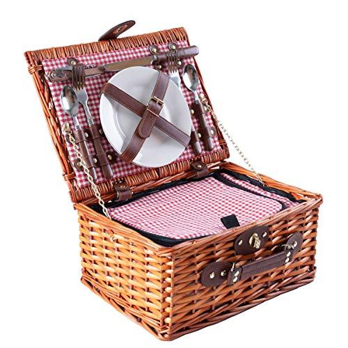 eGenuss LYP1598RED Handgefertigtes Picknickkorb für 2 Personen – Kühlfach, Multifunktionsmesser, Edelstahlbesteck, Teller und Weingläser inklusive - Rotes Gingham-Muster 32x25x17 cm