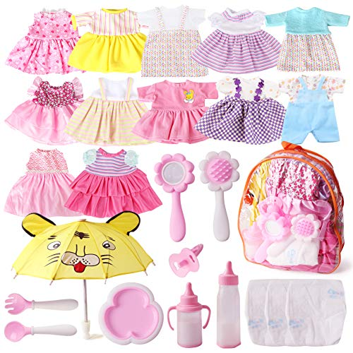 Fits 12'' 13'' 14'' 15'' Bitty Baby Girl Alive Doll Clothes Diapers 360°Sewing Dresses for American...