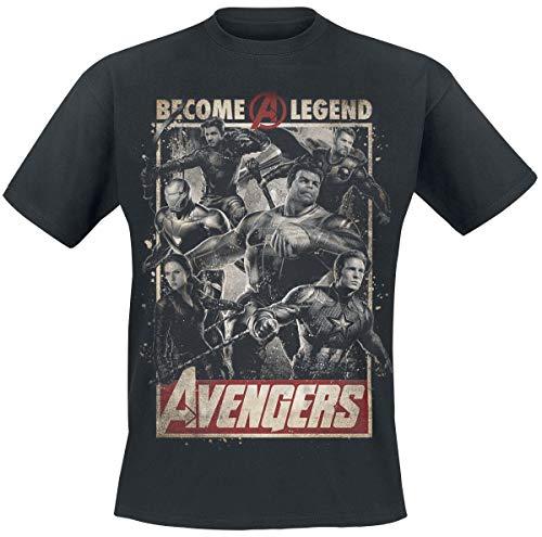 Maglietta da Uomo Avengers Diventa Una Leggenda Poster Endgame Marvel Cotton Black - XXL