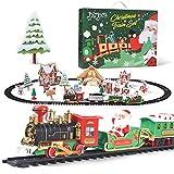Joyjoz Train Set for Christmas, Toy Train Set with Sounds and Lights, Round Railway Tracks for Under / Around The Christmas Tree with 12 Tracks for Kids Boys Girls