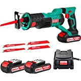 HYCHIKA Cordless Reciprocating Saw 20V 2Ah 2 Batteries 4 Saw Blades, 0-2800SPM Variable Speed, 7/8' Stroke Length Tool-Free Blade Change LED Light for Wood Metal Cutting Pruning