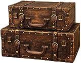 LHSUNTA Cajas de Almacenamiento de Madera Maleta Retro 2 Piezas Caja Decorativa Caja de Almacenamiento Retro clásica Caja de Almacenamiento de baratijas de joyería Caja Decorativa (Color: