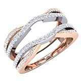 Dazzlingrock Collection 0.50 Carat (ctw) 10K White & Two Tone Diamond Wedding Band Guard Double Ring...