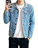 Homme Veste en Jean Denim Jacket Manche Longue Manteau Loisirs Slim Fit Veste Denim Bleu Clair XX-Large