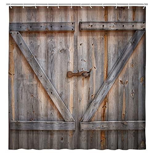 KOTOM Rustic Decor Shower Curtain, Rustic Wooden Barn Door, Polyester...