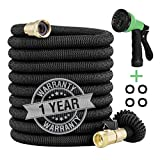100ft Expandable Garden Hose - New Improved Flexible Water Hose with Heavy Duty Expanding Latex Core, Fabric Casing and 3/4 Solid Brass Connectors Fittings
