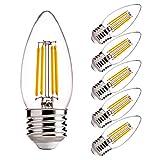 Dimmable LED Candelabra Light Bulbs 60W Equivalent E26 Regular Base - FLSNT 4.5W B11 LED Chandelier Candle Light Bulbs,2700K Soft White, 450LM,CRI80-6 Pack