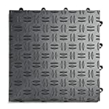 GarageTrac Diamond, Durable Interlocking Modular Garage Flooring Tile (24 Pack), Graphite