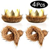 SATINIOR Where The Wild Things are Max Costume Party Supplies Wild One Crown Tail, Dress Up Party Cake Smash Things King of The Jungle,Halloween Headbands 4PCS