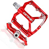 MatyKit S Shape Mountain Bike Pedals of Lightweight, Specialized 9/16' UD Bearings Ultra Strong Colorful CNC Machined Alloy Bicycle Non-Slip Pedal, Anodizing Sealed 3 Bearing Cycling Pedals (Red)