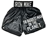 Mike Tyson Signed Custom Black The Baddest Man On The Planet Boxing Trunks JSA - Autographed Boxing Robes and Trunks