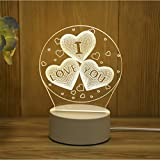 New Acrylic The neon 3D stereo Night Light LED Table Lamp Birthday festival children decoration Gift I Love You Heart