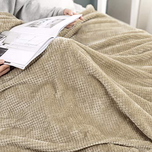 MIULEE 1 Pezzo Coperta per Divano in Peluche Super Morbido Elegante e Resistente per Letto Matrimoniale 170X210 CM Cachi 170X210 CM Cachi