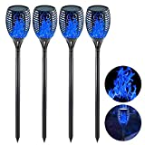 EOYIZW Solar Lights, 43' Tiki Torches with Flickering Flame, 4 Pack Waterproof Dancing Flames Torch Lights Outdoor Landscape Decoration Lighting Auto On/Off Security Torch Light for Garden Pathway