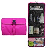 Hanging Travel Toiletry Bag Travel Kit Organizer Cosmetic Makeup Waterproof Wash Bag for Women Girls Travel Case for Bathroom Shower (1 Hot Pink)