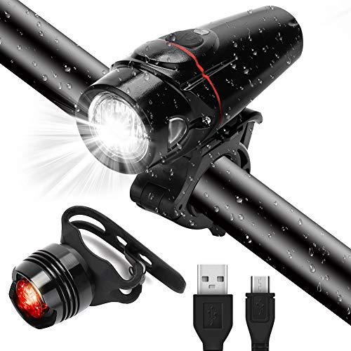 GARDOM Luci Bicicletta USB Ricaricabile, LED Luce Bici Anteriore e Luce Bici Posteriore Impermeabile, 3 modalit di Illuminazione, Sensore Intelligente per Bici Strada MTB