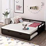 Daybed with Pop up Trundle Beds for Adults and Kids, Wooden Daybed with a Trundle Twin to King Design No Box Spring Required. (Espresso)